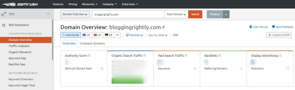 SEMrush-Domain-Overview-Tool