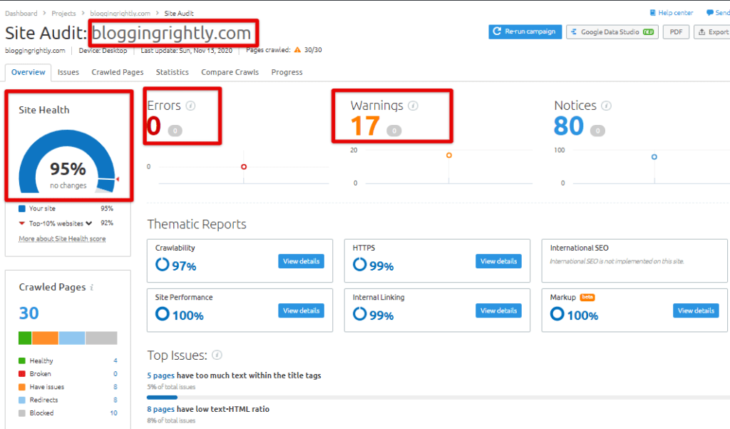 SEMrush Site Audit Tool Overview